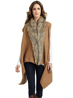 A+RO - Faux Fur Collar Draped Cardigan