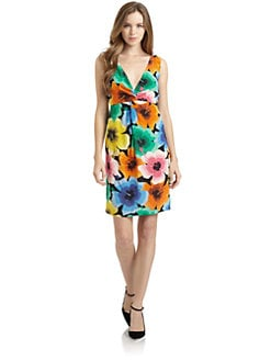 Love Moschino - Knotted Floral Silk Dress