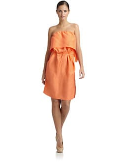 Tibi - Washed Silk Strapless Dress
