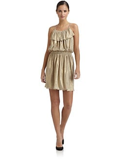 Tibi - Linen Metallic Draped Bib Dress