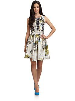 Cynthia Rowley - Silk Satin Abstract Floral Dress