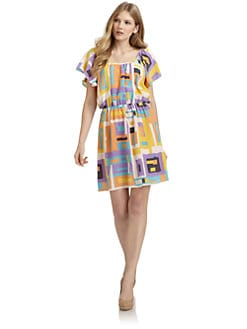 ADDISON - Silk Geometric Flutter Sleeve Dress