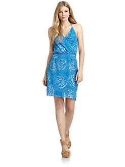 ADDISON - Silk Chiffon Abstract Draped Dress/Blue