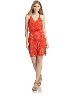 ADDISON - Silk Chiffon Abstract Draped Dress/Tomato