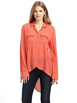 ADDISON - Chiffon Hi-Lo Blouse/Coral