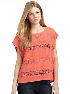 ADDISON - Striped Lace Top/Coral