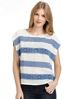 ADDISON - Stripe Lace Blouse/Sapphire