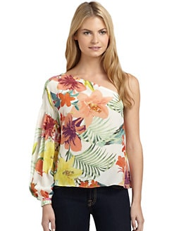 ADDISON - Silk Tropical Asymmetric Blouse
