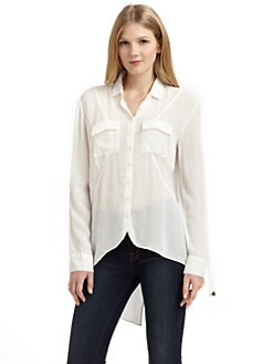 ADDISON - Chiffon Hi-Lo Blouse/White