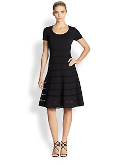 Escada - Mesh-Striped Jersey Dress