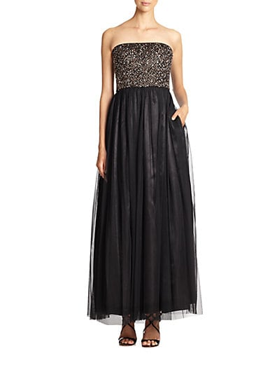 Strapless Beaded Tulle Gown $121.06 AT vintagedancer.com