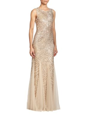 Sequined Godet Gown