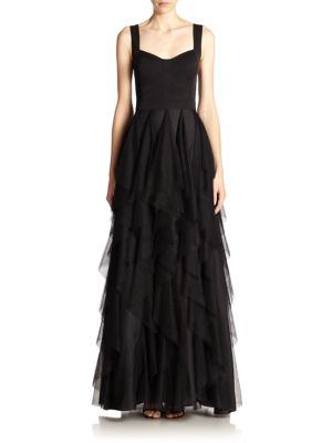 Mixed-Media Tiered Gown