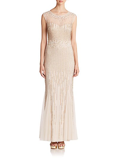 Beaded Cap-Sleeve Illusion Gown $136.20 AT vintagedancer.com