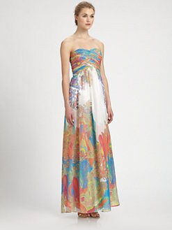 Aidan Mattox - Strapless Paisley-Print Gown