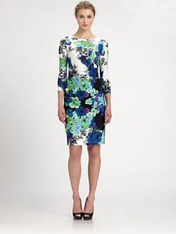 Aidan Mattox - Ruched Printed Jersey Dress