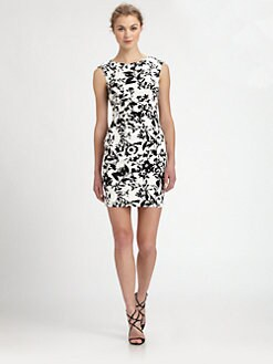 Aidan Mattox - Ruched Floral Jersey Dress
