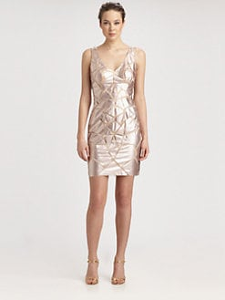 Aidan Mattox - Pieced Faux Leather Dress