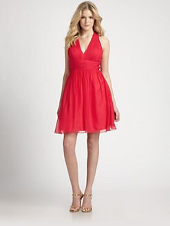 Aidan Mattox - Silk Chiffon Halter Dress