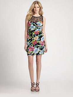 Aidan Mattox - Lace-Paneled Floral-Print Dress