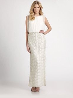 Aidan Mattox - Silk Chiffon & Beaded Lace Gown