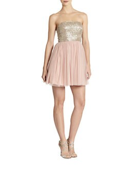 Aidan Mattox - Strapless Beaded-Top Tulle Dress