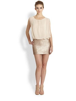 Aidan Mattox - Sequined-Skirt Chiffon Dress