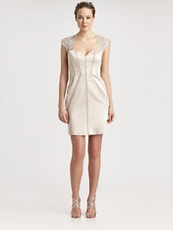 Aidan Mattox - Lace-Trimmed Satin Dress