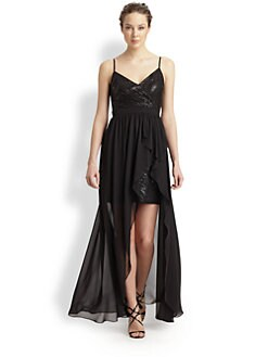 Aidan Mattox - Hi-Lo Chiffon Overlay Dress