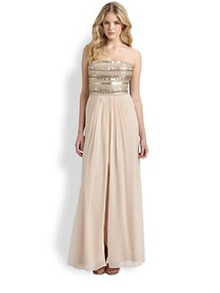 Aidan Mattox - Strapless Beaded Chiffon Gown