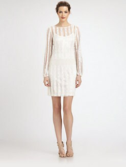 Aidan Mattox - Beaded-Stripe Mesh Dress
