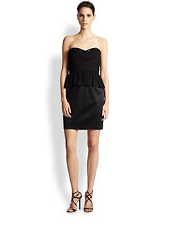 Aidan Mattox - Strapless Silk Peplum Dress
