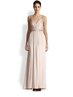 Aidan Mattox - Beaded Strap Satin Gown