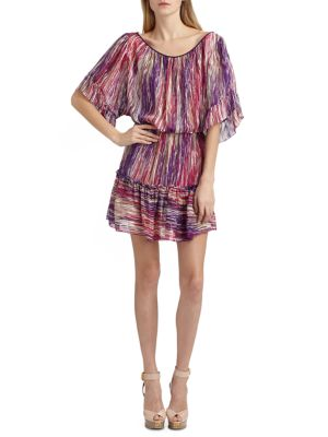 Striped Silk Chiffon Dress
