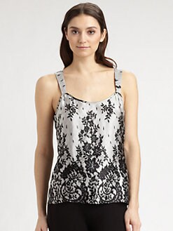 Saks Fifth Avenue - Lace-Print Silk Camisole