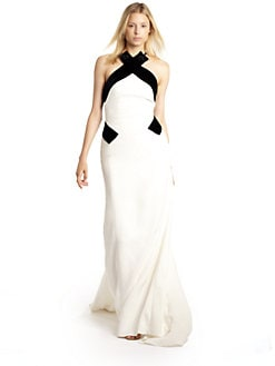 Carolina Herrera - Embellished Silk Halter Gown