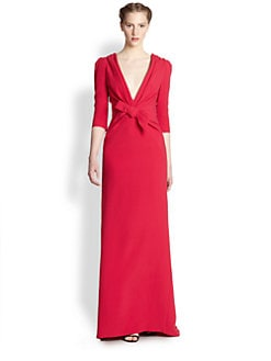 Carolina Herrera - Silk Plunge-Neck Bow Gown