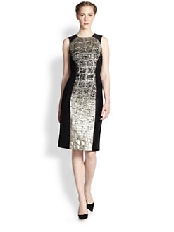 Carolina Herrera - Degradé Crocodile Jacquard Dress