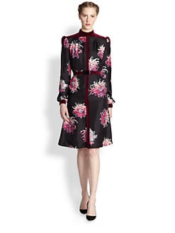 Carolina Herrera - Silk & Velvet Dahlia Dress