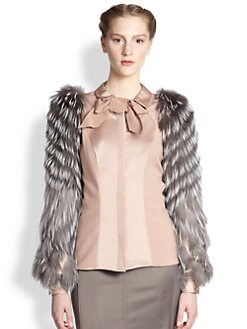 Carolina Herrera - Fox Fur-Sleeve Mikado Blouse