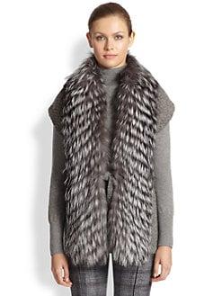 Carolina Herrera - Silver Fox-Fur Collar Knit Vest