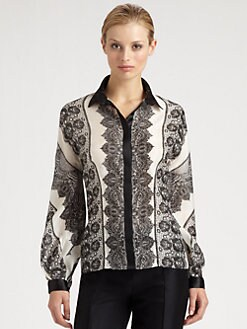 Carolina Herrera - Lace Print Silk Blouse