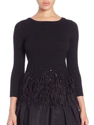Icon Collection Embellished Ostrich Feather-Trim Top by Carolina Herrera