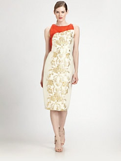 Carolina Herrera - Baroque Lam&eacute; Jacquard Dress