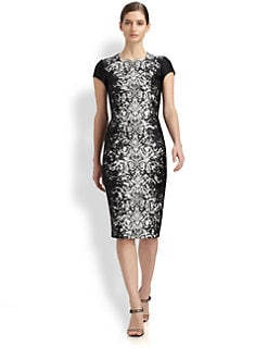 Carolina Herrera - Lace-Print Jacquard Dress