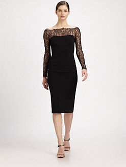 Carolina Herrera - Lace-Paneled Stretch Jersey Dress