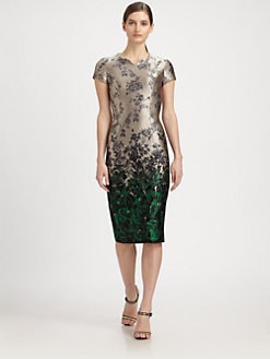 Carolina Herrera - Ombré Floral-Print Jacquard Dress