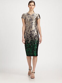 Carolina Herrera - Ombr&eacute; Floral-Print Jacquard Dress
