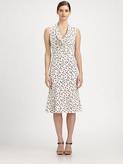 Carolina Herrera - Card Suit-Print Silk Crepe de Chine Dress