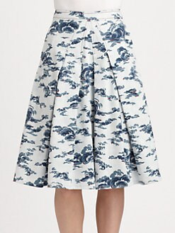Carolina Herrera - Pleated Cloud-Print Stretch Cotton Skirt